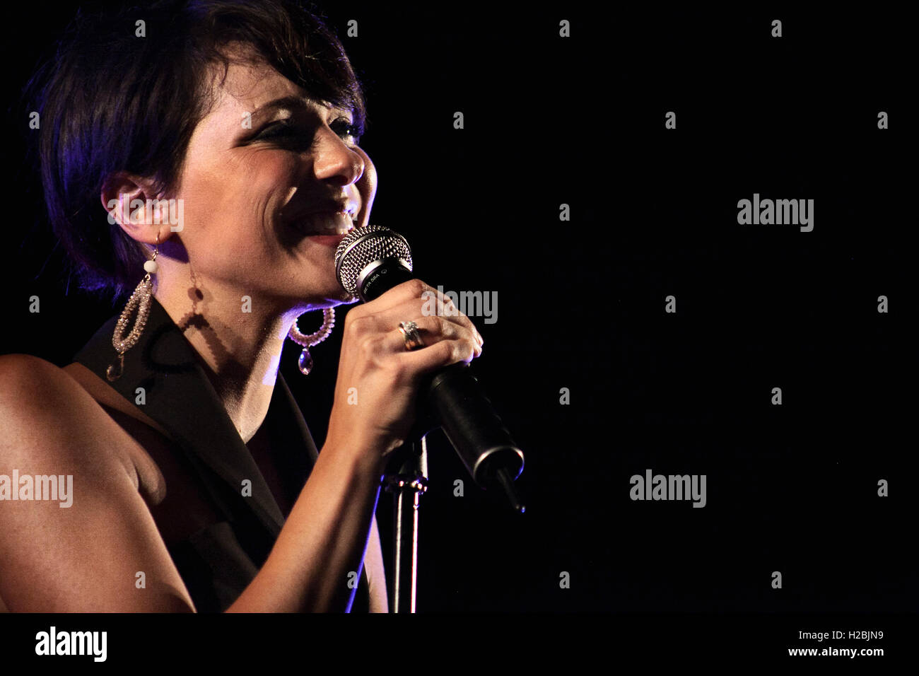 "Italian jazz singer Simona Molinari performs live during her tour ""Loving Ella"". Stock Photo"