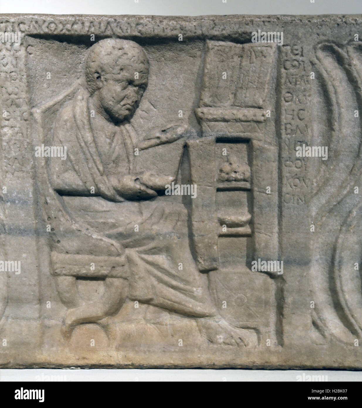 Sarcophagus with a Greek physician. Marble. Roman era. From Ostia (port of Rome),Italy. Carved. Early 300s. Stock Photo