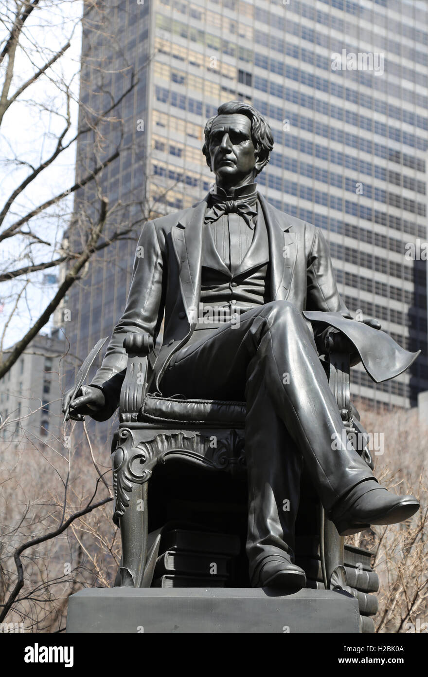 Statue of american statesman William Henry Seward (1801-1872) by Randolph Rogers (1825-1892). Madison Square Park. - Stock Image