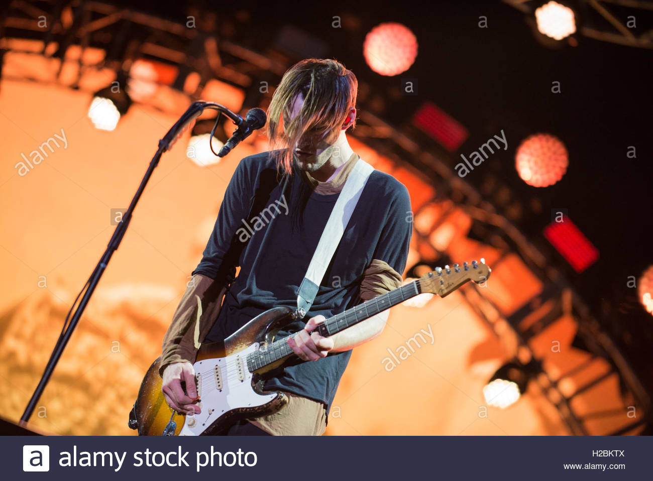 Josh Klinghoffer performing with the Red Hot Chili Peppers at Tennents Vital, Boucher Road Playing Fields, Belfast - Stock Image