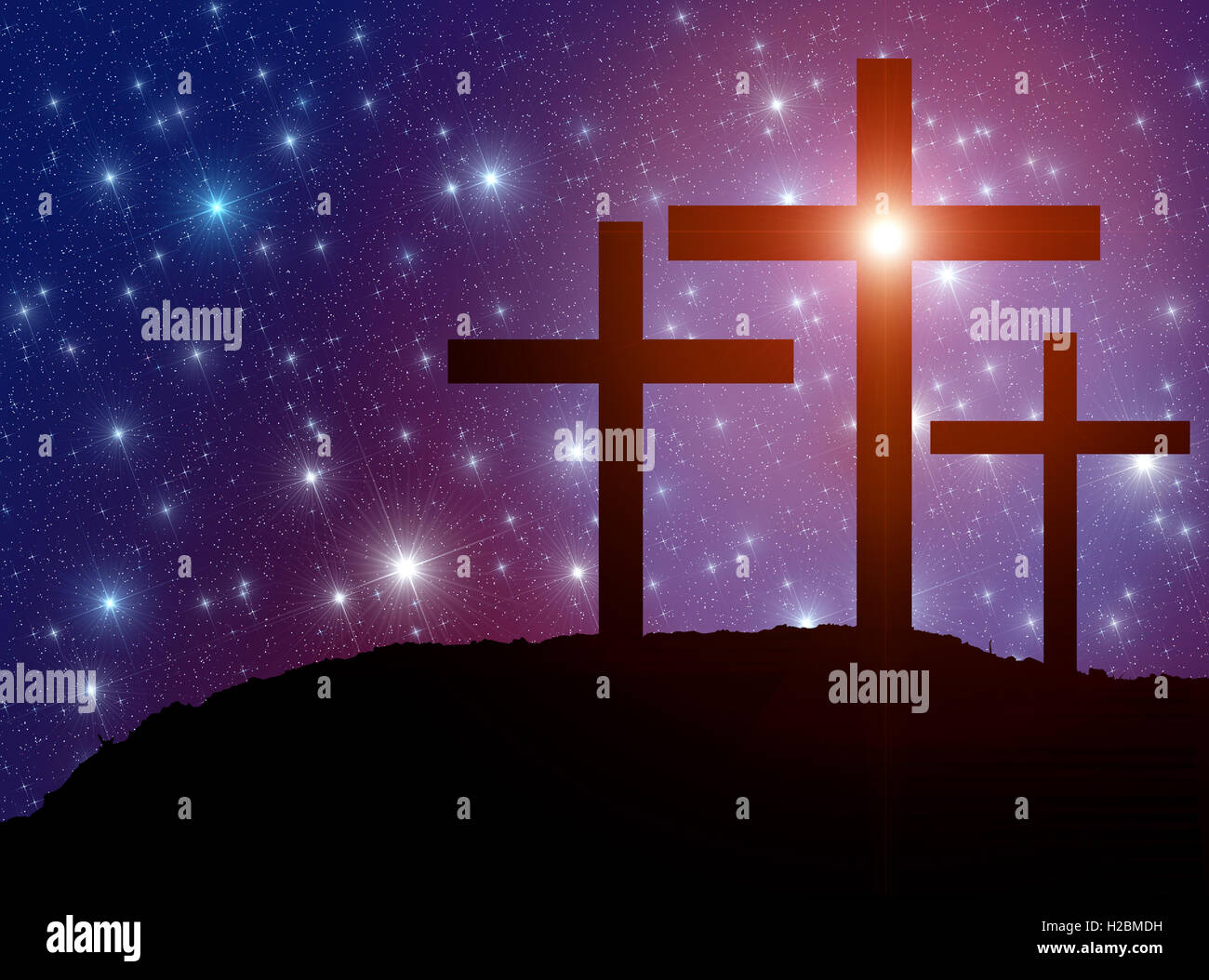 Jesus' cross on the Calvary hill with sky filled by twinkling sparkling stars as a  symbol of Christianity end - Stock Image