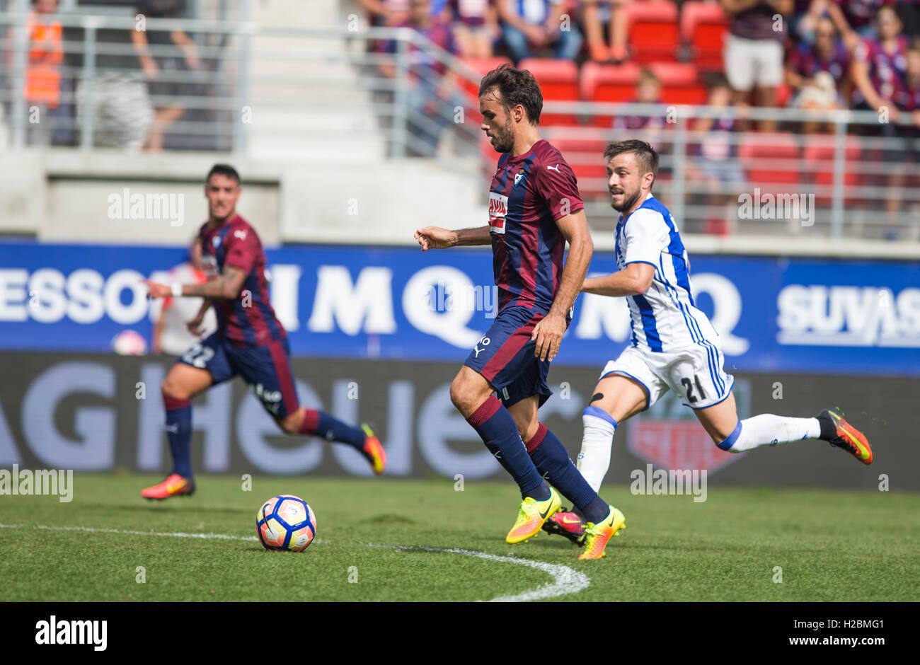 21 Pedro leon attack. Match day 6 game of la Liga Santander 2016-2017 season between Sd Eibar and Real Sociedad - Stock Image