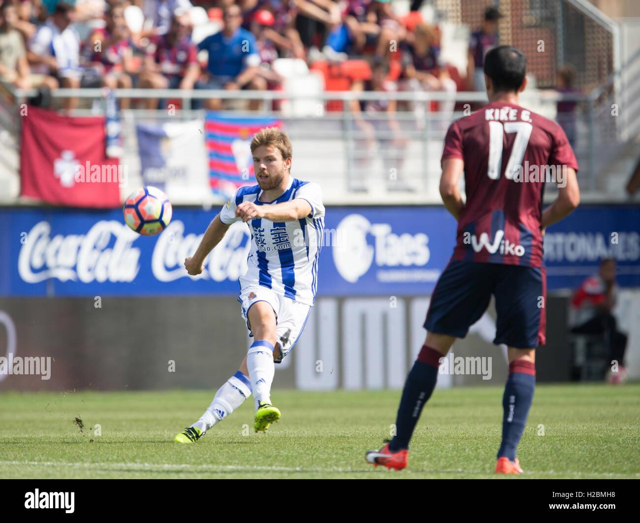 4 long ball Illarra Match day 6 game of la Liga Santander 2016-2017 season between Sd Eibar and Real Sociedad played - Stock Image