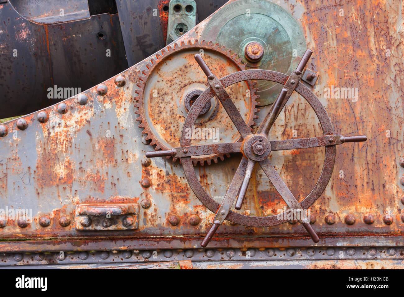 Detail of a gun carriage on Suomenlinna, Finland - Stock Image