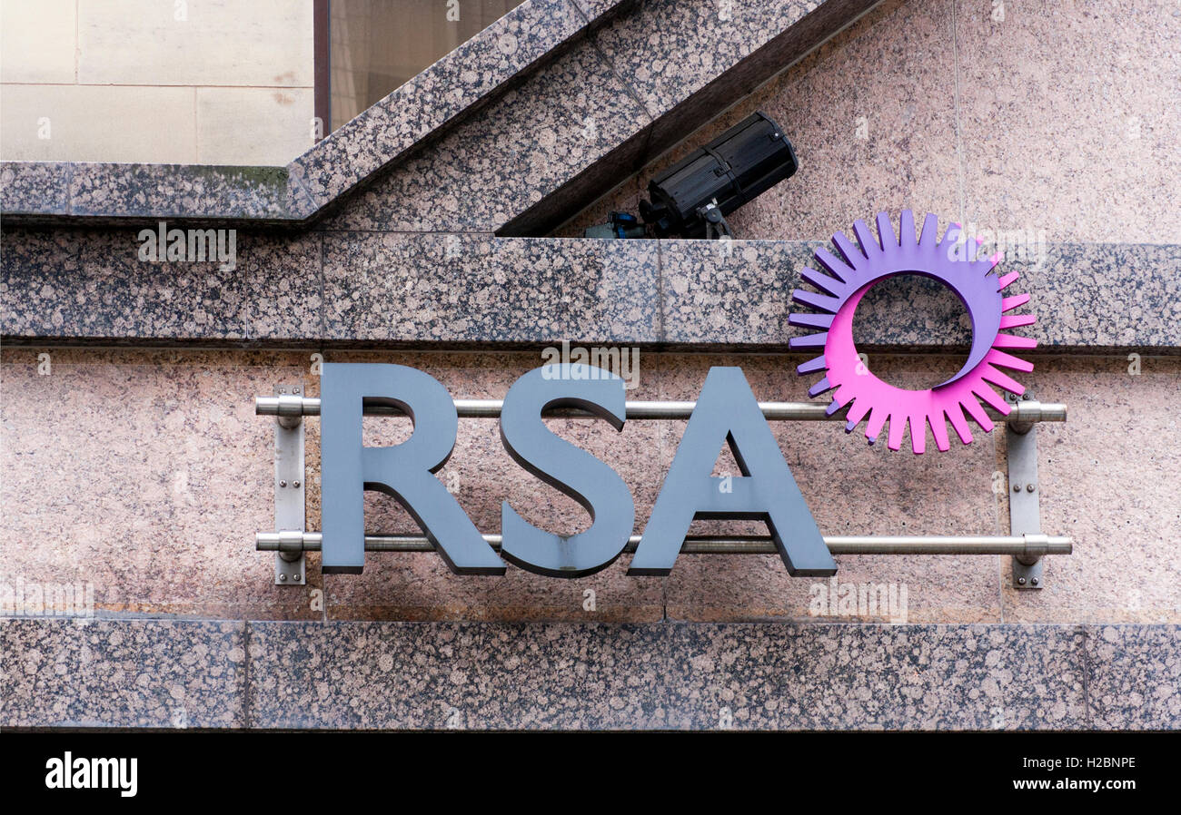 RSA Insurance Office Sign Manchester - Stock Image
