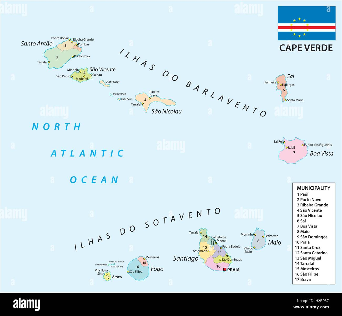 cape verde administrative and political map with flag Stock Vector