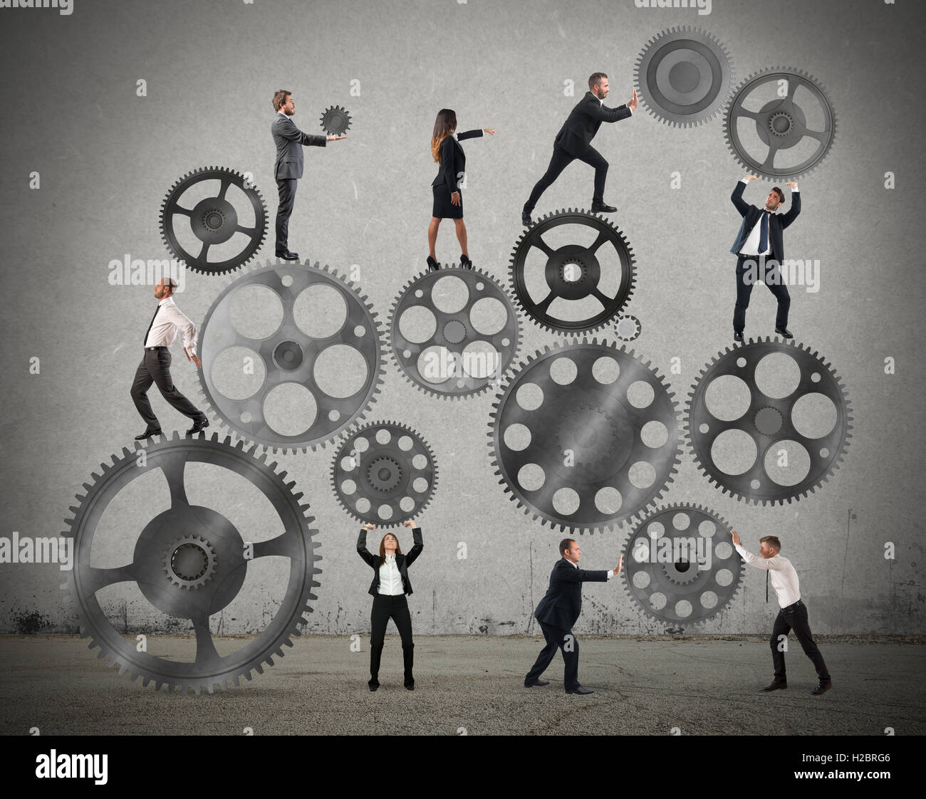 Teamwork of businesspeople - Stock Image