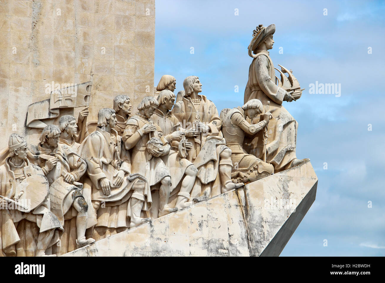 Monument to the Discoveries fragment (Padrao dos Descobrimentos) in Santa Maria de Belem district of Lisbon, Portugal - Stock Image