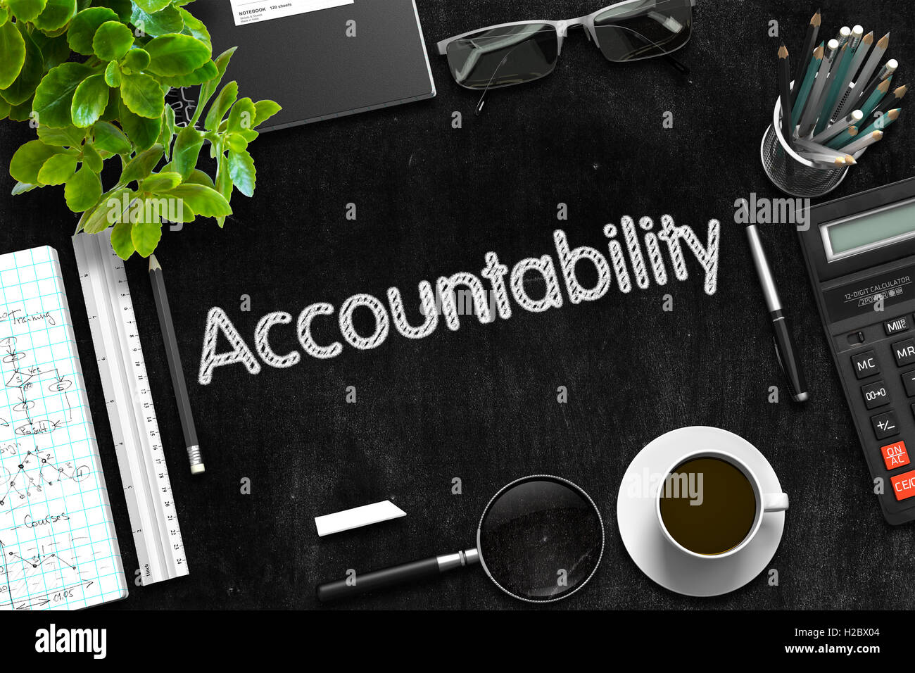 Black Chalkboard with Accountability Concept. 3D Rendering. - Stock Image