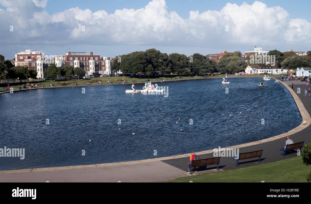 Canoe Lake, a boating lake, Southsea, Portsmouth, Hampshire, England, UK - Stock Image