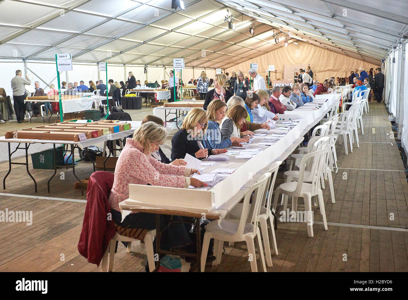 Aylesbury constituency count underway following voting in the 2015 general election - Stock Image
