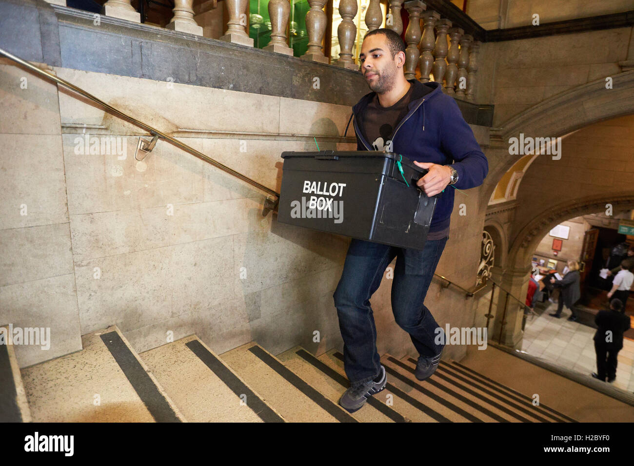 Ballot boxes arriving for the Oxford East constituency count taking place in Oxford Town Hall after the 2015 general - Stock Image