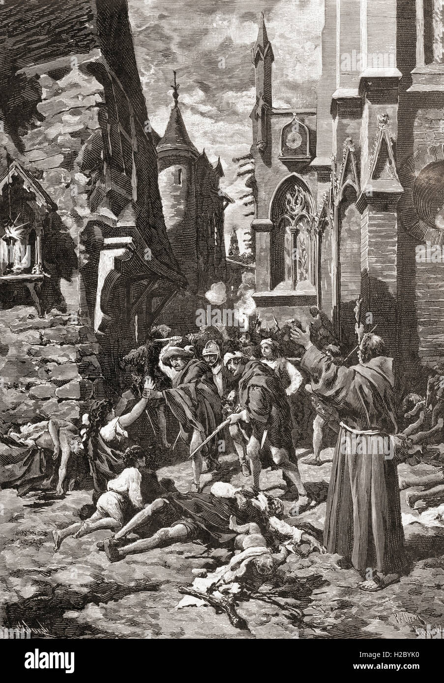 The St. Bartholomew's Day massacre in Paris, France in 1572, a targeted group of assassinations and a wave of Catholic mob violence, directed against the Huguenots (French Calvinist Protestants) during the French Wars of Religion. Stock Photo