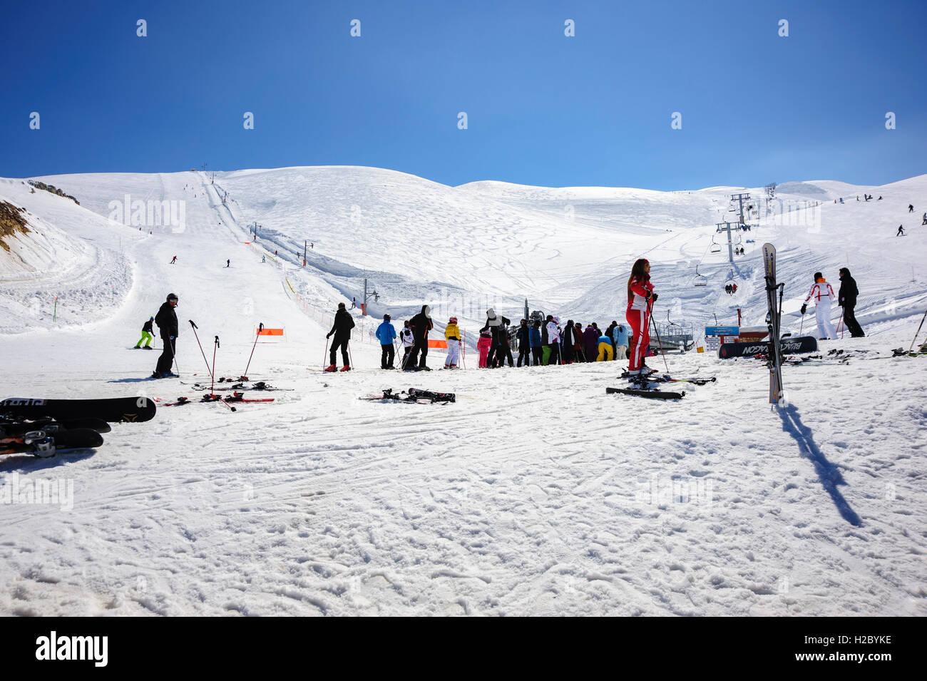 People waiting to take the chairlift, Faraya (Mzaar Kfardebian) Ski resort, Lebanon - Stock Image