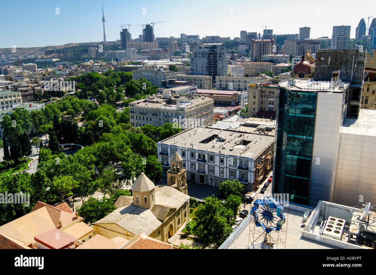 Azerbaijan, Baku. Baku city view. Flame Towers, a residential complex under construction in the background. St. - Stock Image