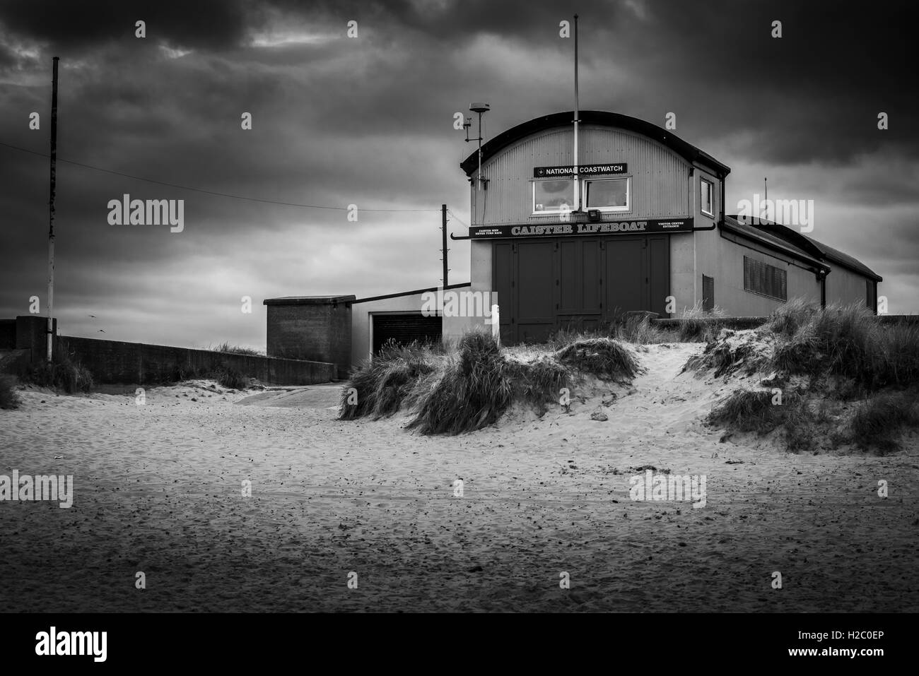 Black and white image if Lifeboat Station, Caistor-on-sea, Norfolk, England - Stock Image