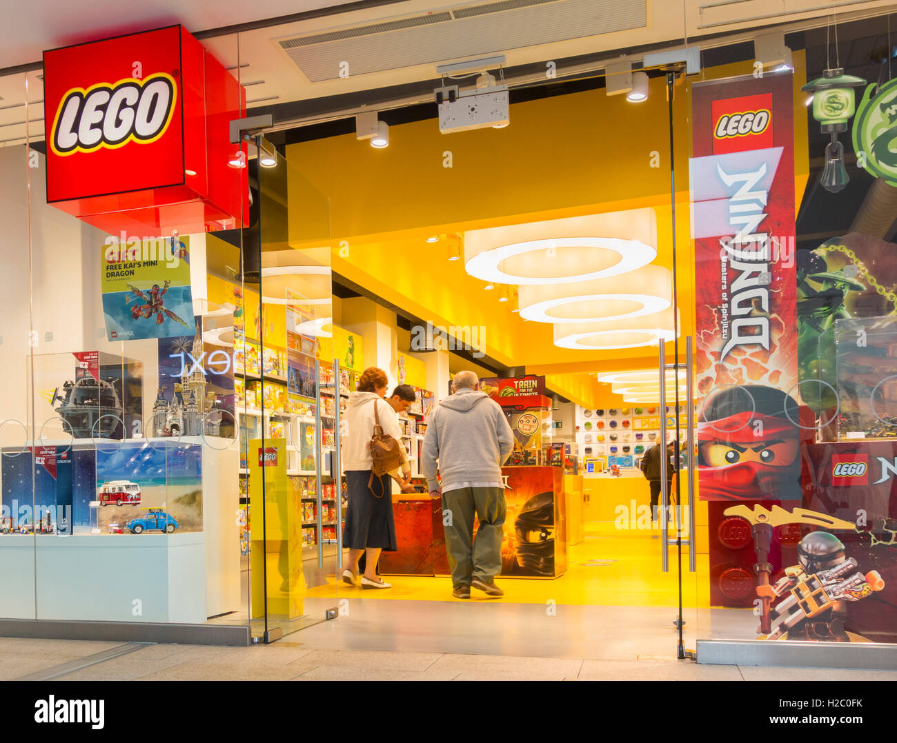Lego store window in Trinity Leeds shopping centre. Leeds, England. UK - Stock Image