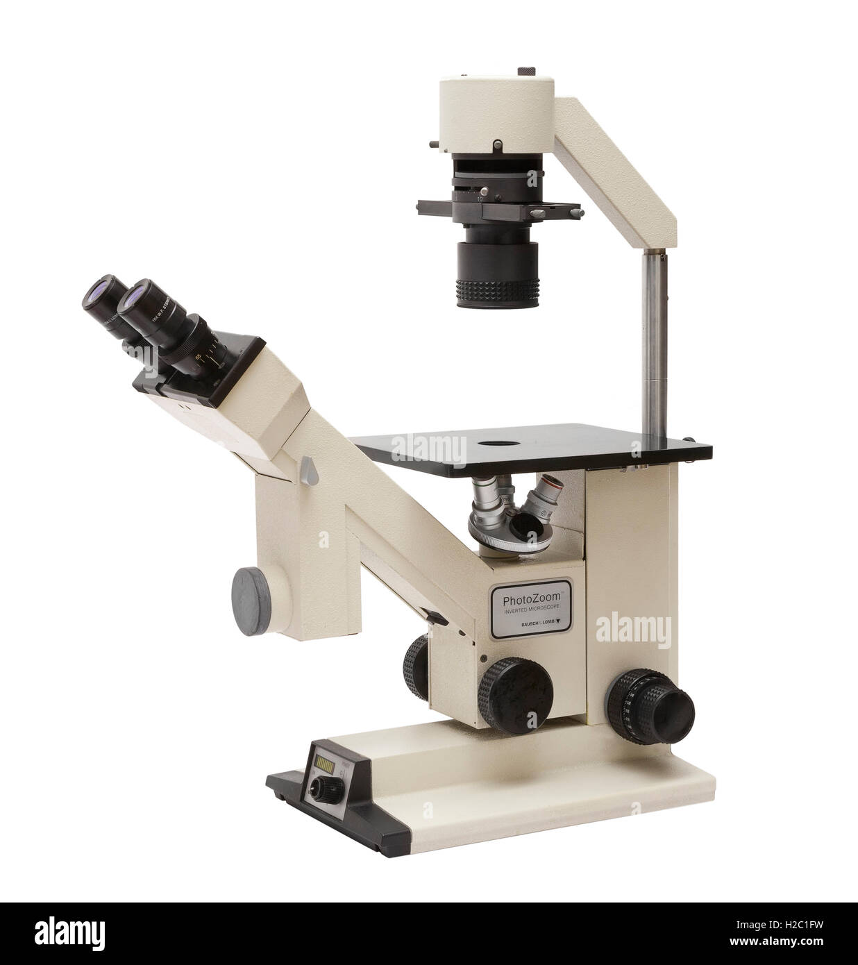 Inverted trinocular microscope by Bausch & Lomb USA - Stock Image