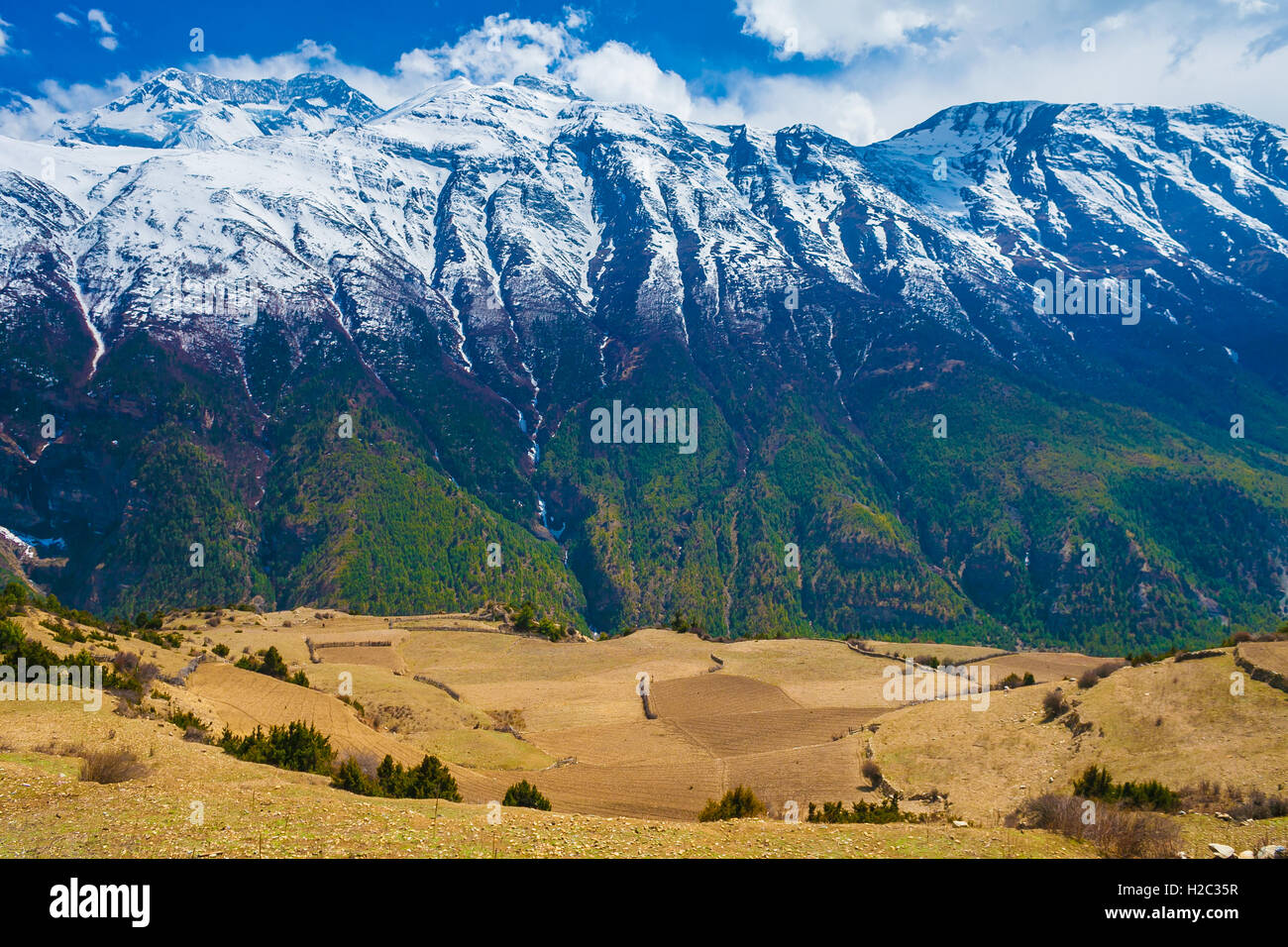 Landscape Snow Mountains Nature Viewpoint.Mountain Trekking Landscapes Background. Nobody photo.Asia Travel Horizontal Stock Photo