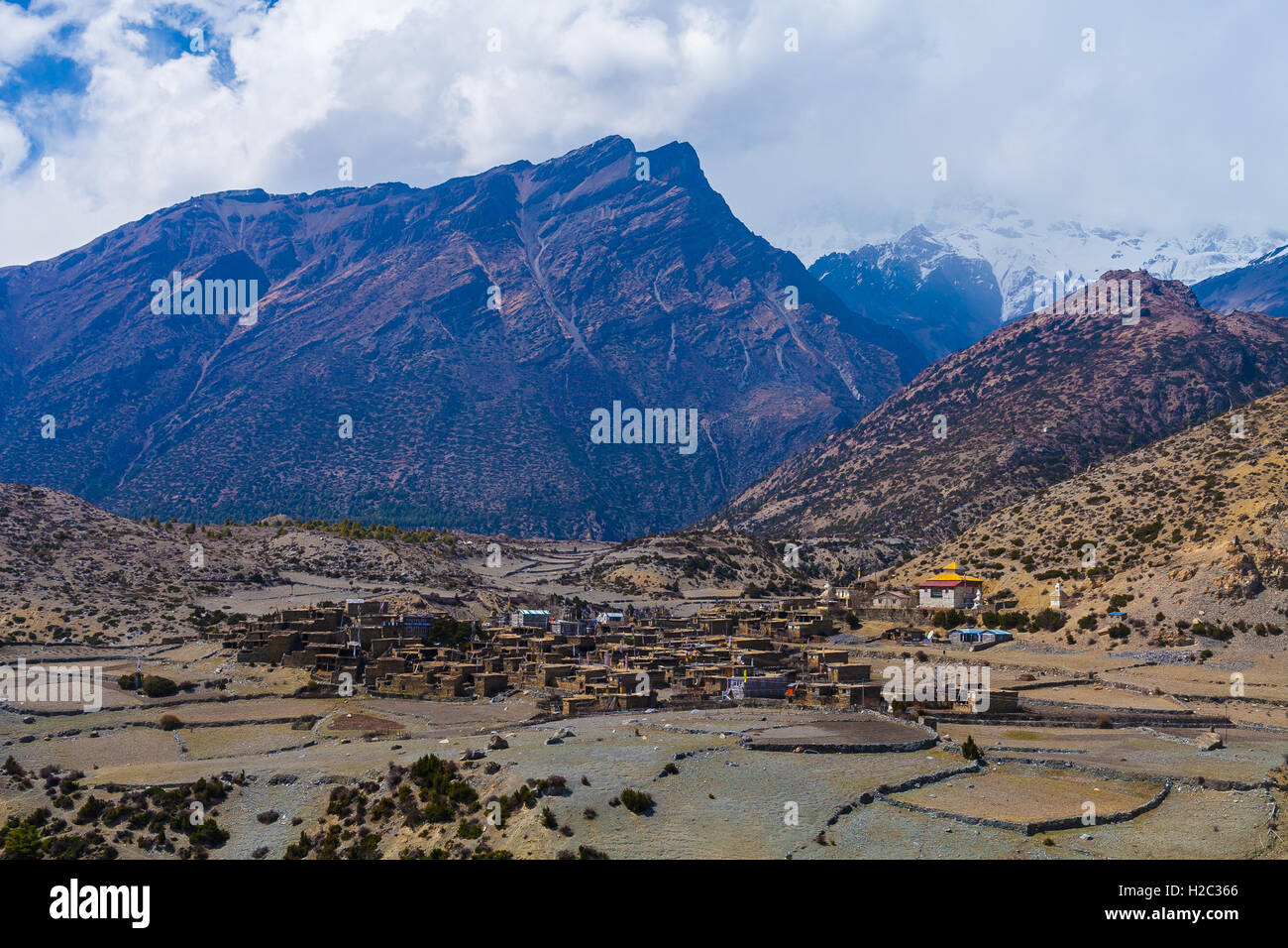 Landscape View Himalays Mountains Village.Asia Nature Morning Viewpoint.Mountain Trekking Photo.Horizontal picture.Stock Photo