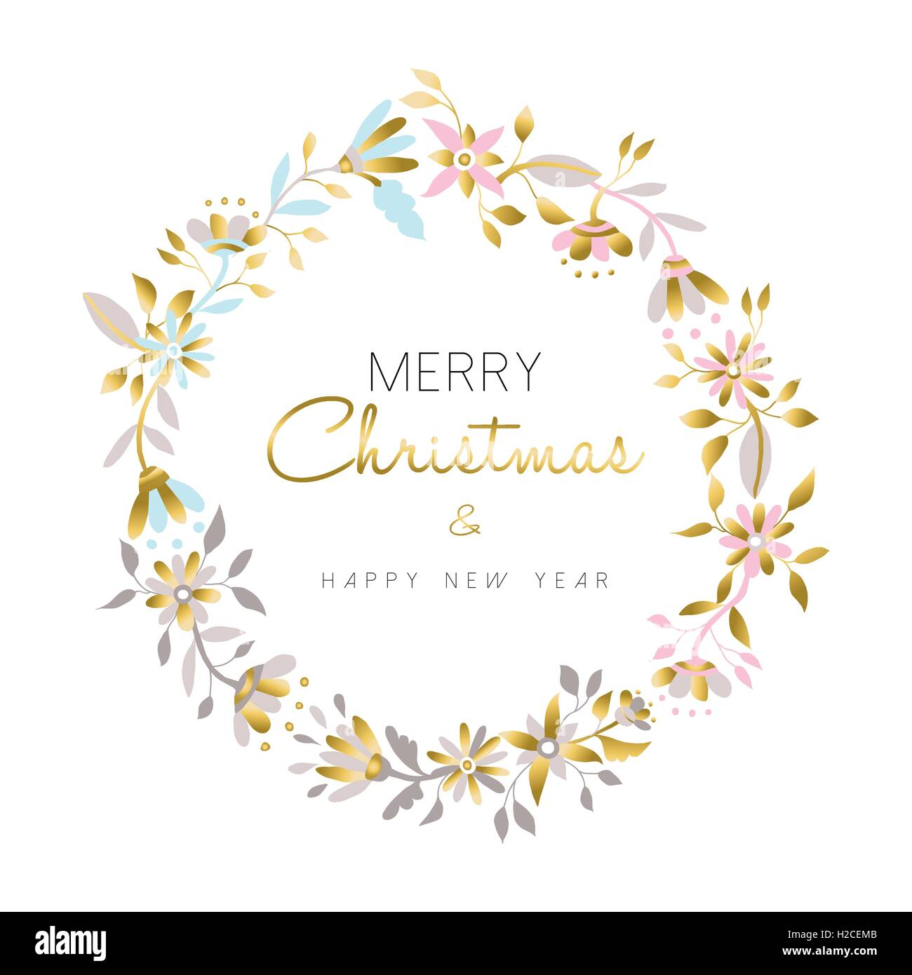 merry christmas and happy new year gold flower wreath christmas decoration in pastel colors over white background