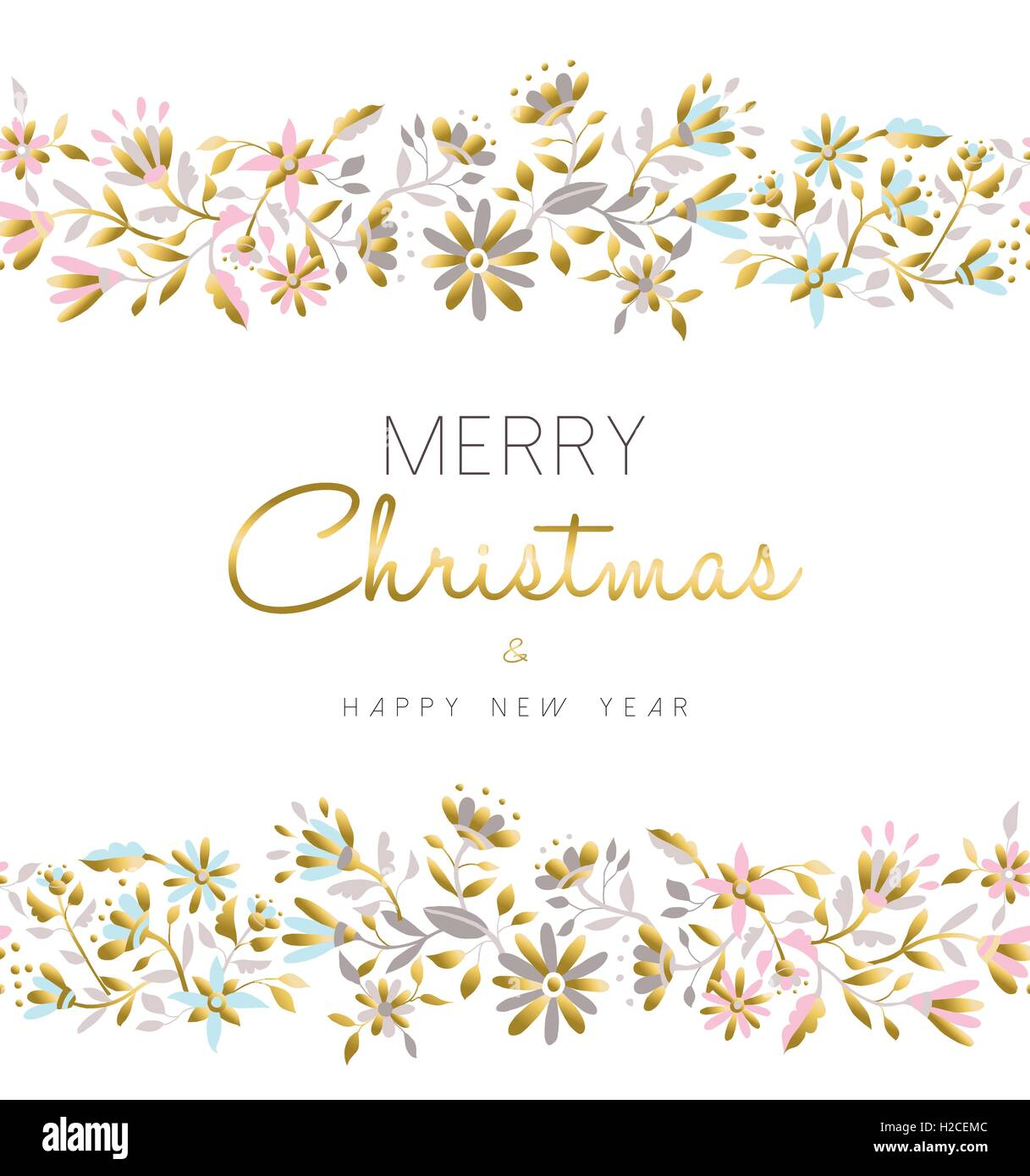 merry christmas and happy new year floral seamless pattern background in gold pastel color with flower illustration eps10