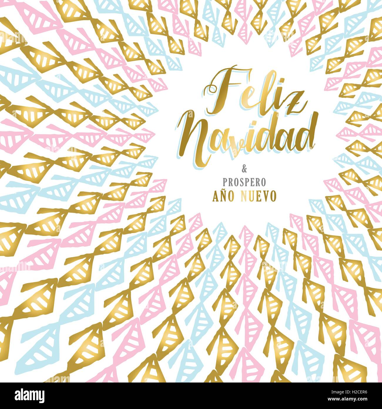 merry christmas happy new year design in spanish language gold tribal art mandala for holiday greeting card poster or invitat - Merry Christmas And Happy New Year In Spanish