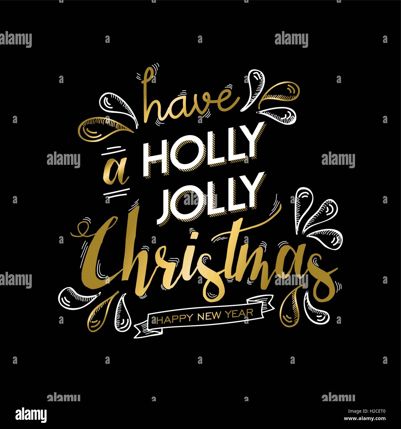 Merry christmas and happy new year gold lettering design. Xmas text quote with doodle drawings for holiday greeting - Stock Image