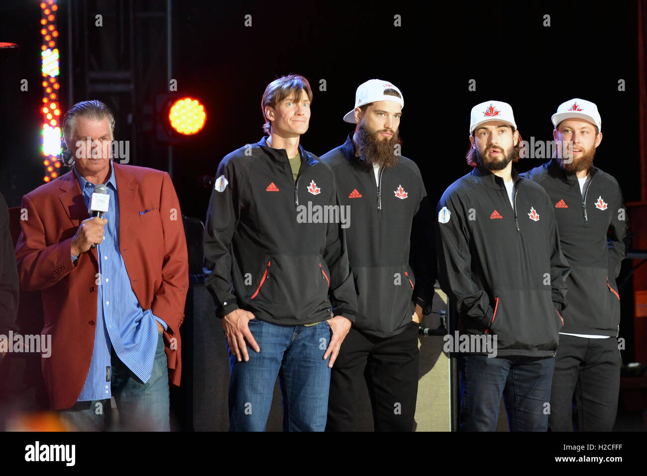 Toronto, Canada - September 16, 2016:  Barry Melrose with Team Canada defencemen Jay Bouwmeester, Brent Burns, Drew - Stock Image