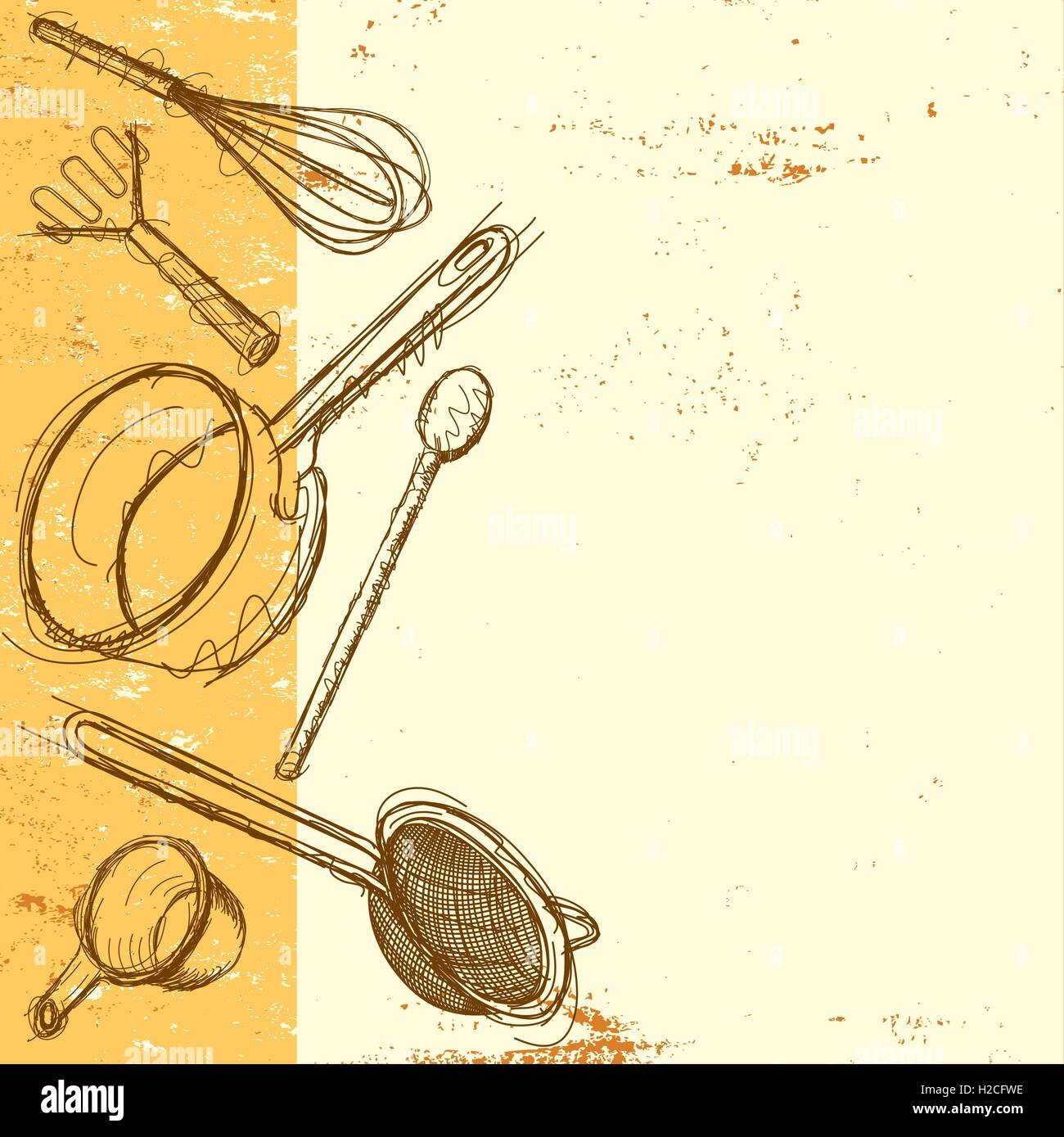 Cooking utensil background Sketchy hand drawn kitchen utensils on