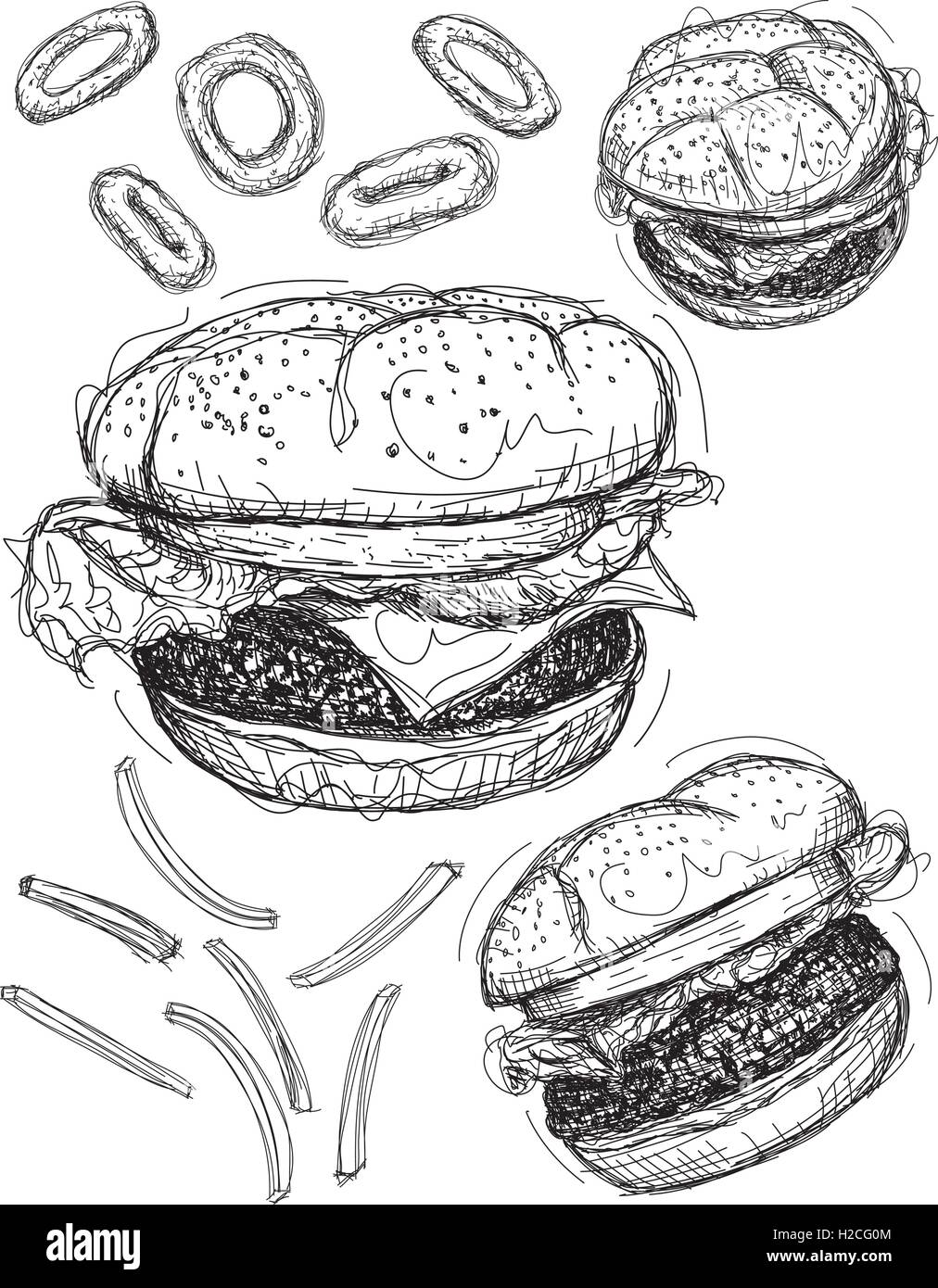 Hamburger sketches A cheeseburger and two hamburgers with onion rings and french fries - Stock Vector