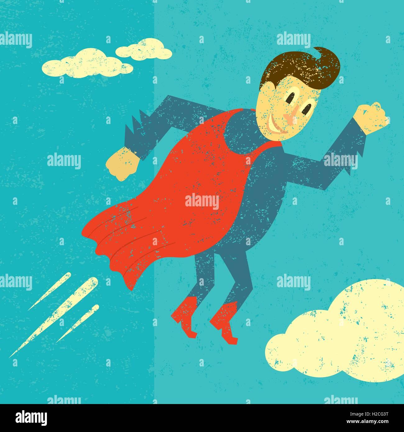 Retro Superhero A super hero over an abstract sky background. - Stock Vector