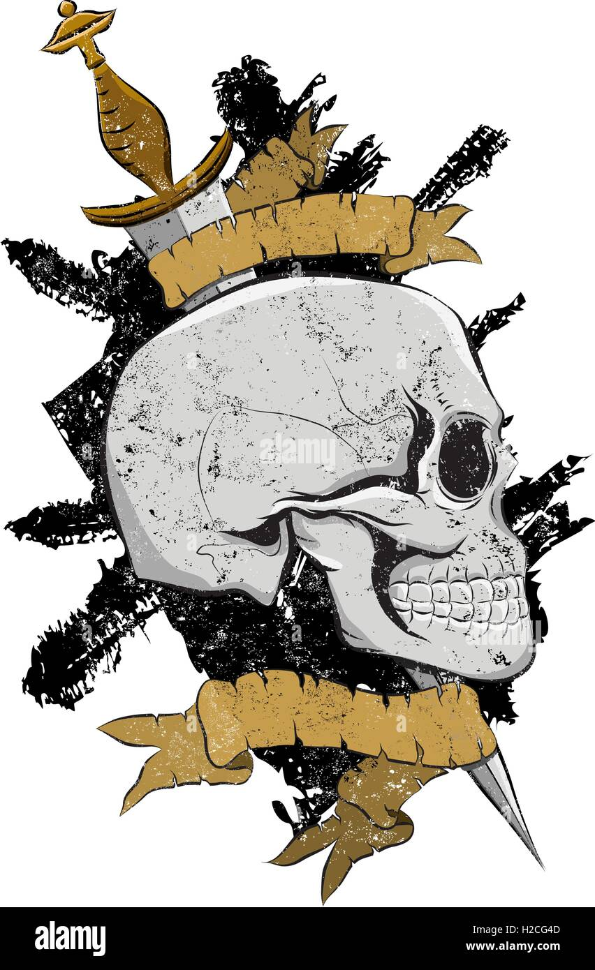 Pirate Skull Insignia A skull pierced by a dagger over a textured background. - Stock Vector