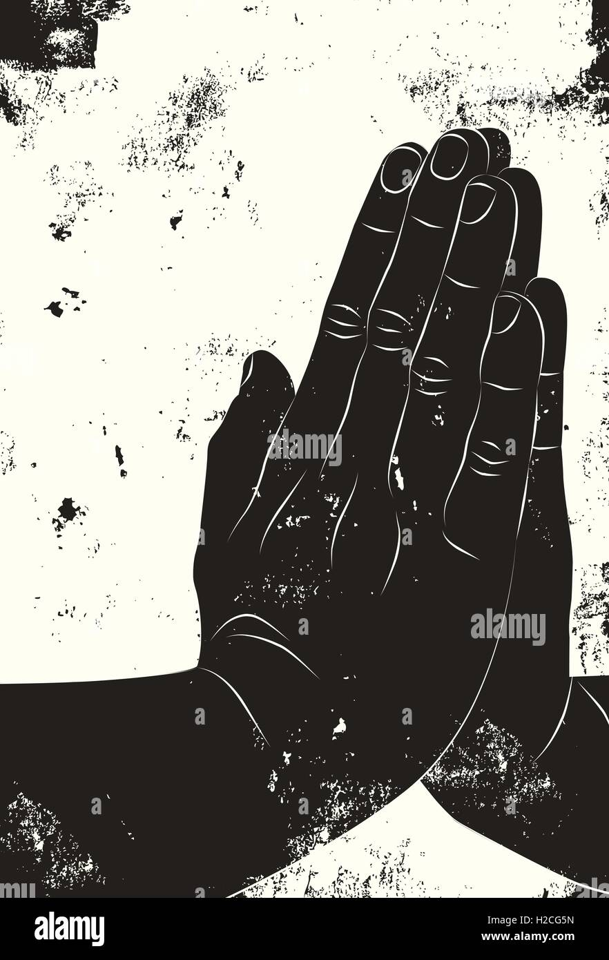 Praying hands Two hands together in a praying position over a textured background. - Stock Vector