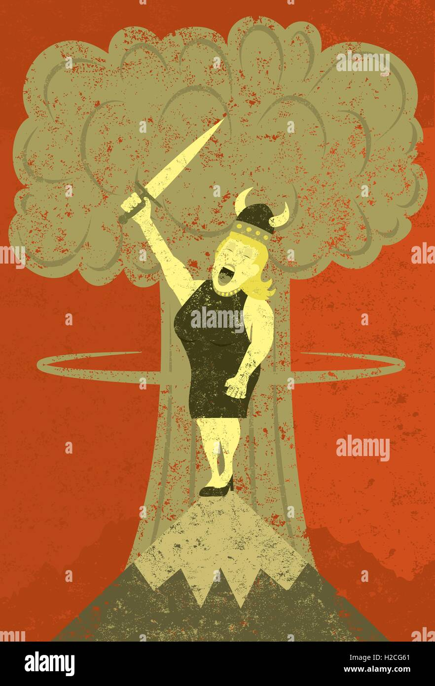 Fat Lady singing at the apocalypse  It's not over until the fat lady sings. A woman in Viking hat singing on - Stock Vector