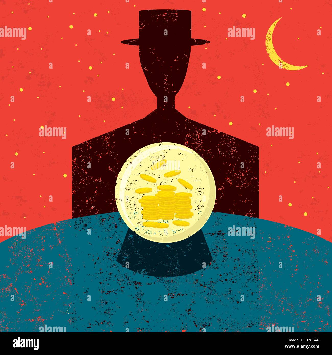 Financial Fortune Teller A businessman looking into a crystal ball and seeing wealth in his future. - Stock Vector