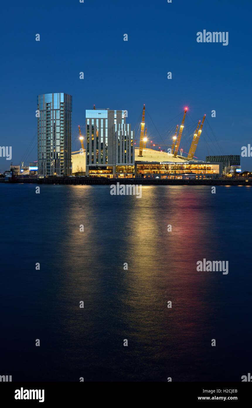 Night view, Intercontinental Hotel - London the O2, Waterview Drive , Greenwich Peninsula, London SE10, United Kingdom - Stock Image