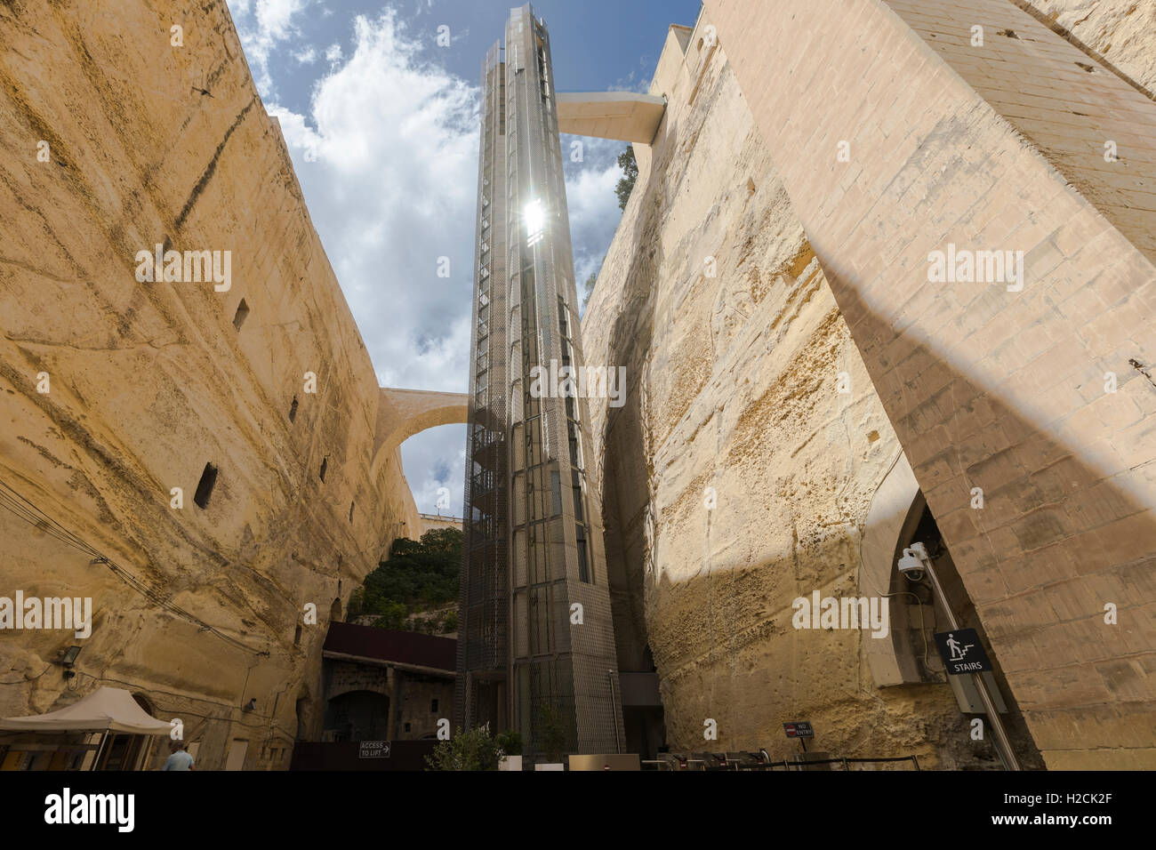Upper Barrakka Lift, Valletta, Malta - Stock Image