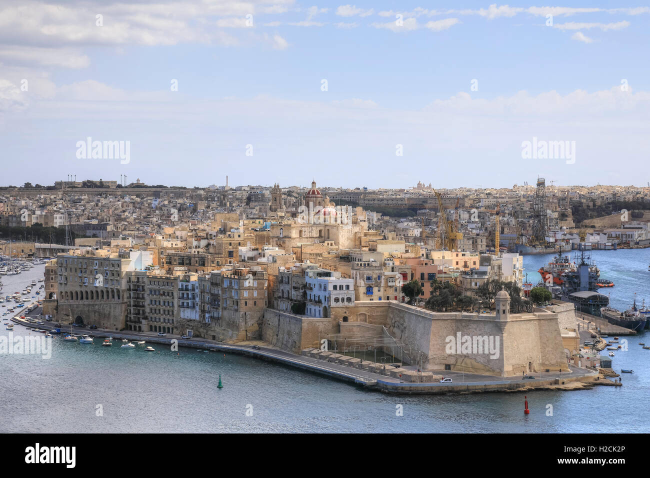 Gardjola Gardens, Senglea, Valletta, Three Cities, Malta - Stock Image