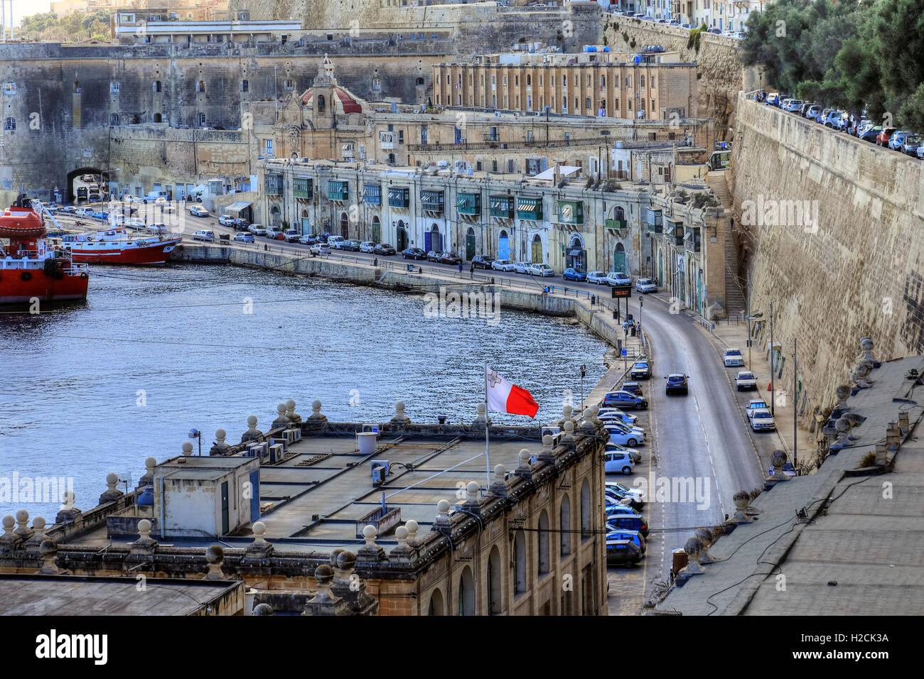 Valletta, waterfront, Malta - Stock Image