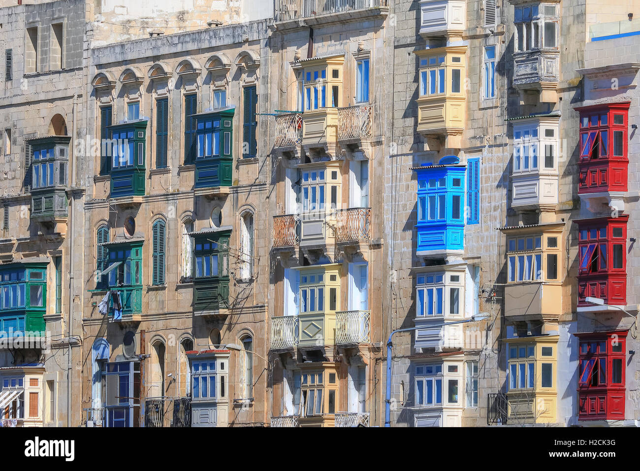 colourful balconies of Vallette, Malta - Stock Image