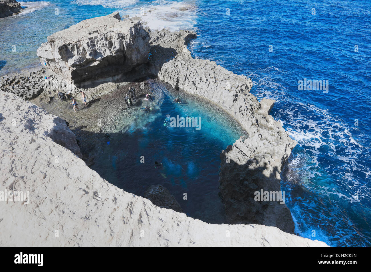 Blue Hole,  Dwejra Bay, Gozo, Malta - Stock Image