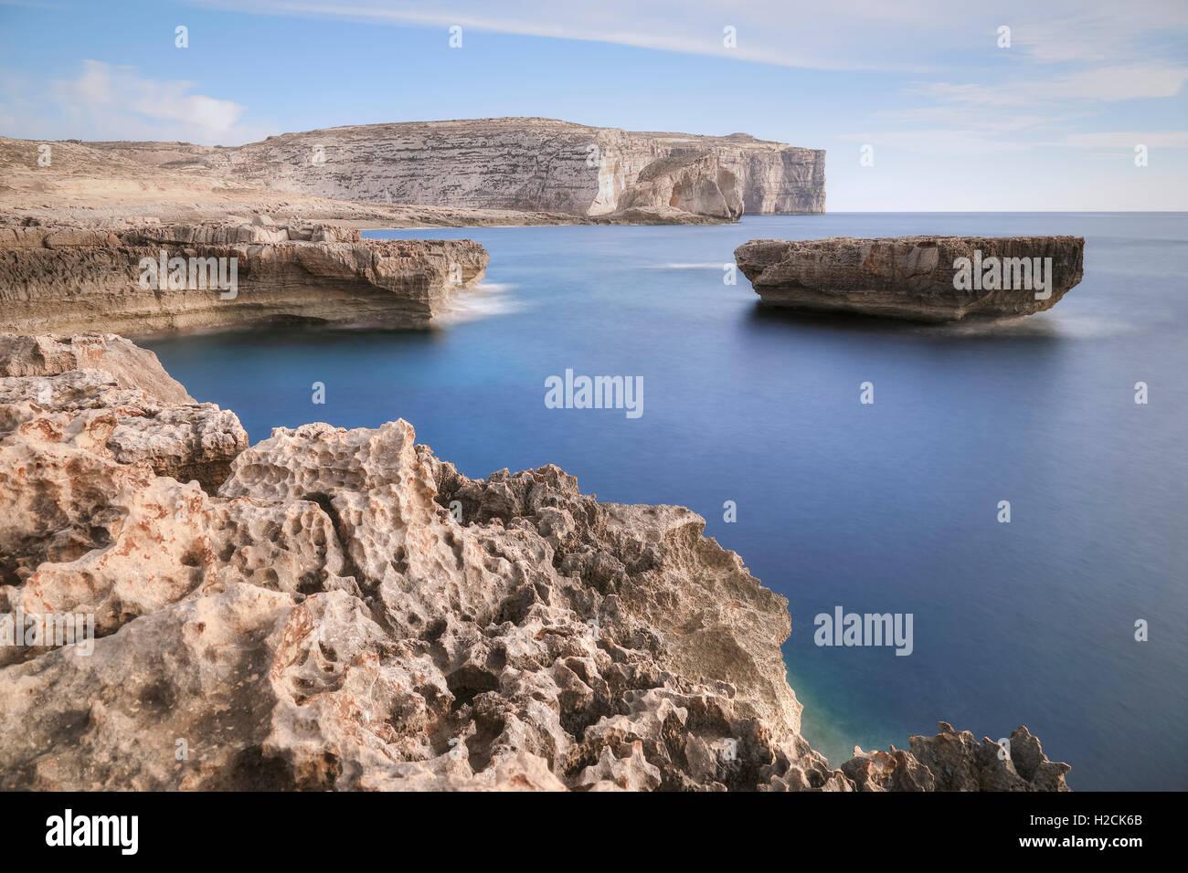 Fungus Rock, Dwejra Bay, Gozo, Malta - Stock Image