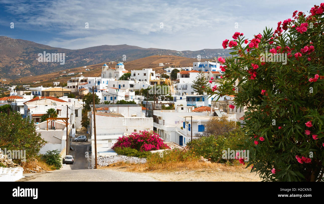 Gavrio village on Andros island in Greece. - Stock Image