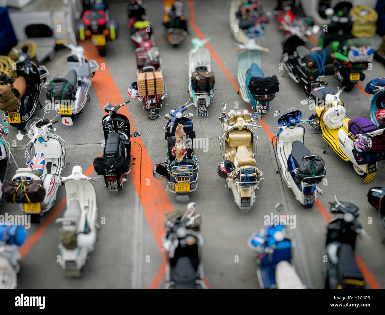 Scooters Lined up Onboard a Ferry, Portsmouth, Britain - Stock Image