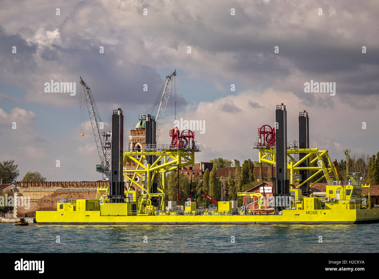 Ship Part Of The Mose Flood Protection Project Venice Italy Stock Photo