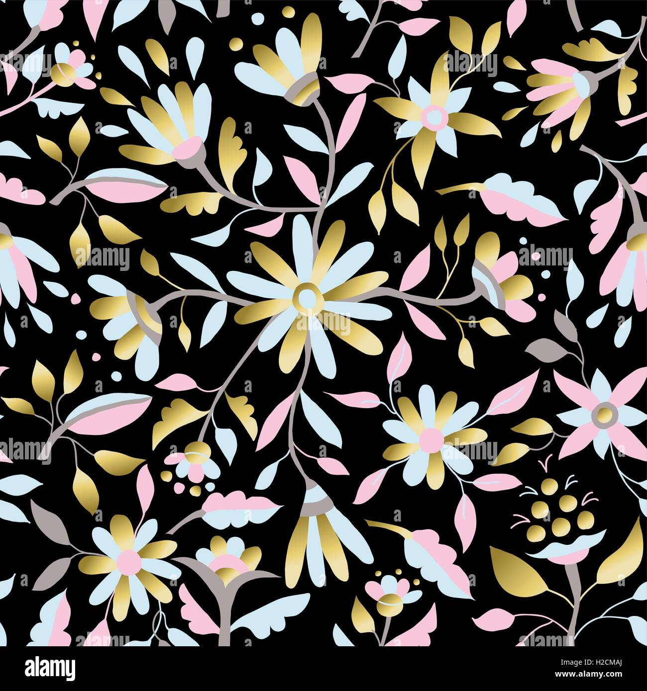 Gerbera daisy stock vector images alamy gold floral spring seamless pattern with daisy flowers leaves and luxury illustration designs eps10 izmirmasajfo