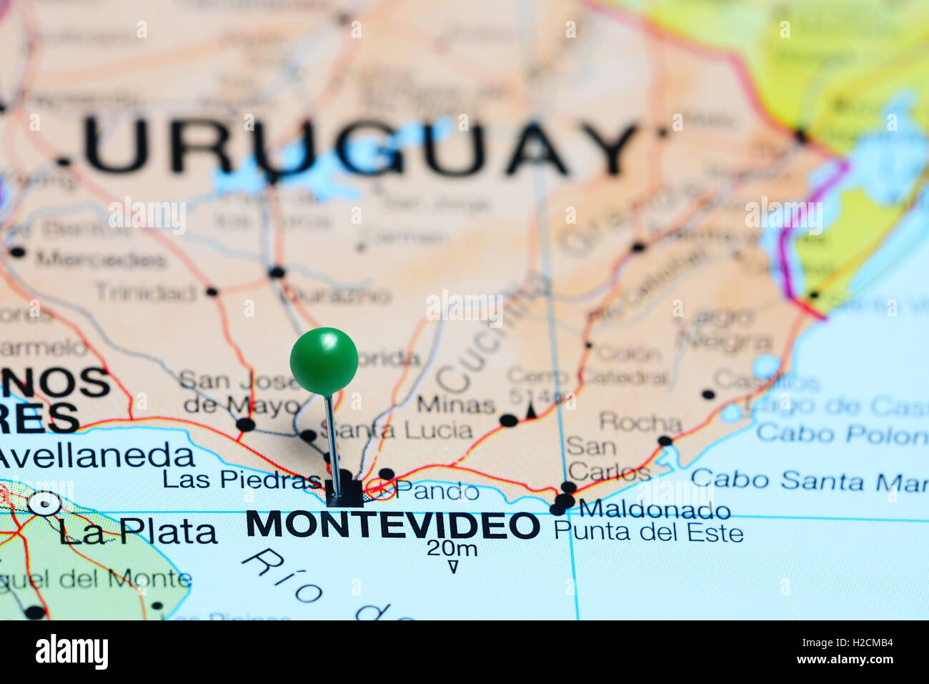 Montevideo pinned on a map of Uruguay Stock Photo: 121981304 - Alamy