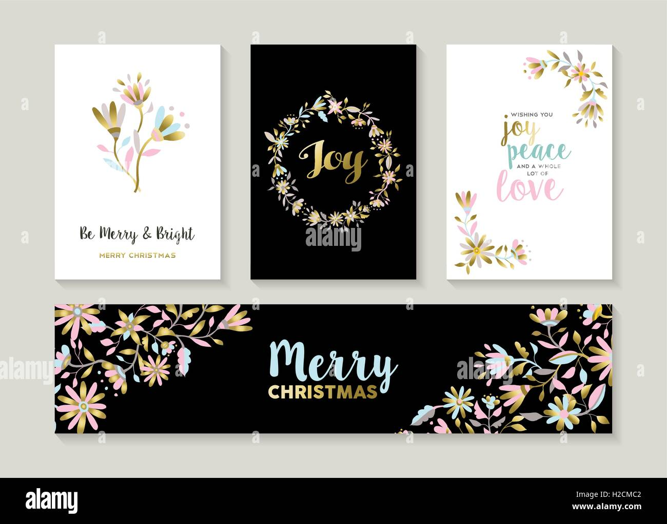 merry christmas set of gold flower designs happy quotes and