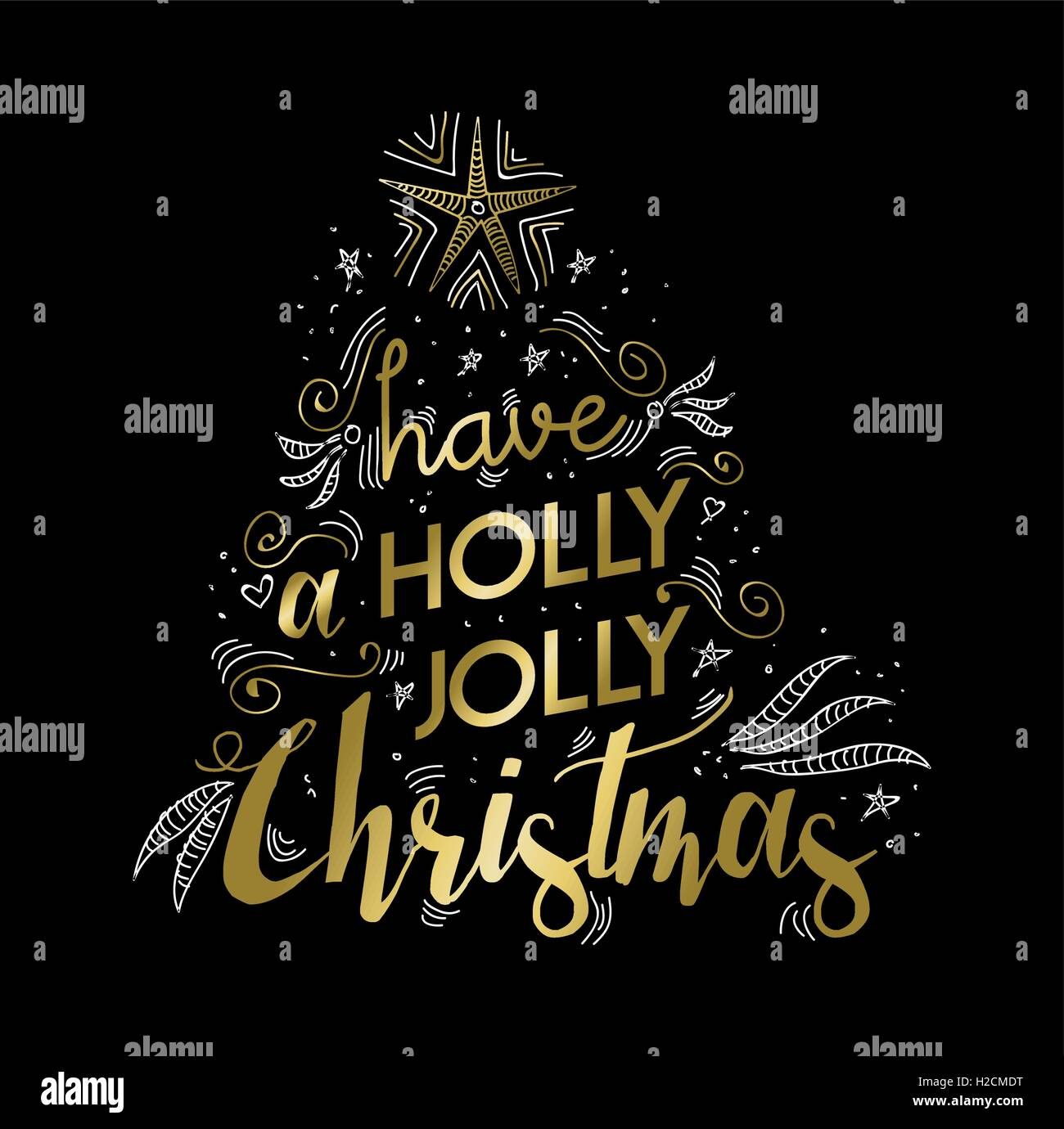 Merry Christmas Gold Luxury Lettering Design Happy Xmas Wish Text